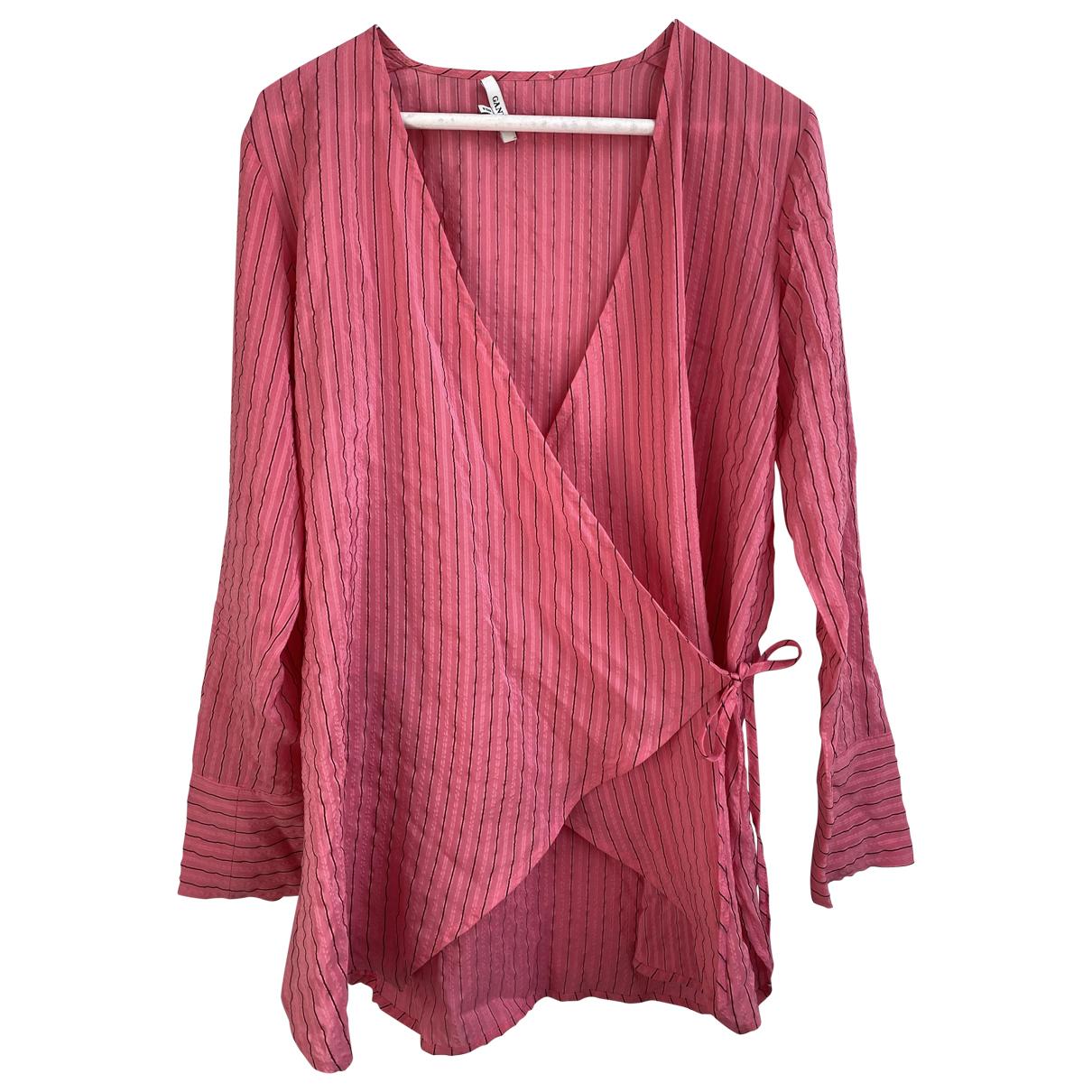 Ganni - Top   pour femme en soie - rose