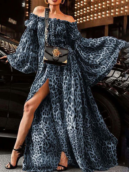 Milanoo Vestido largo azul oscuro  con manga larga de poliester con abertura lateral de dibujos de leopardo con escote de hombros caidos estilo modern