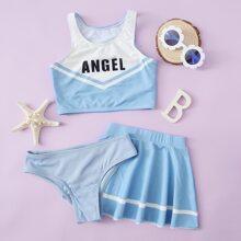 3pack Girls Letter Graphic Skirt Bikini Swimsuit