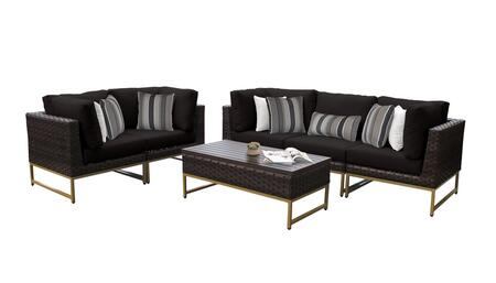 Barcelona BARCELONA-06m-GLD-BLACK 6-Piece Patio Set 06m with 4 Corner Chairs  1 Armless Chair and 1 Coffee Table - Beige and Black Covers with Gold