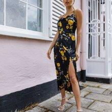 Slip Kleid mit Kreuzgurt hinten, drapiertem Detail, Schlitz und Blumen Muster