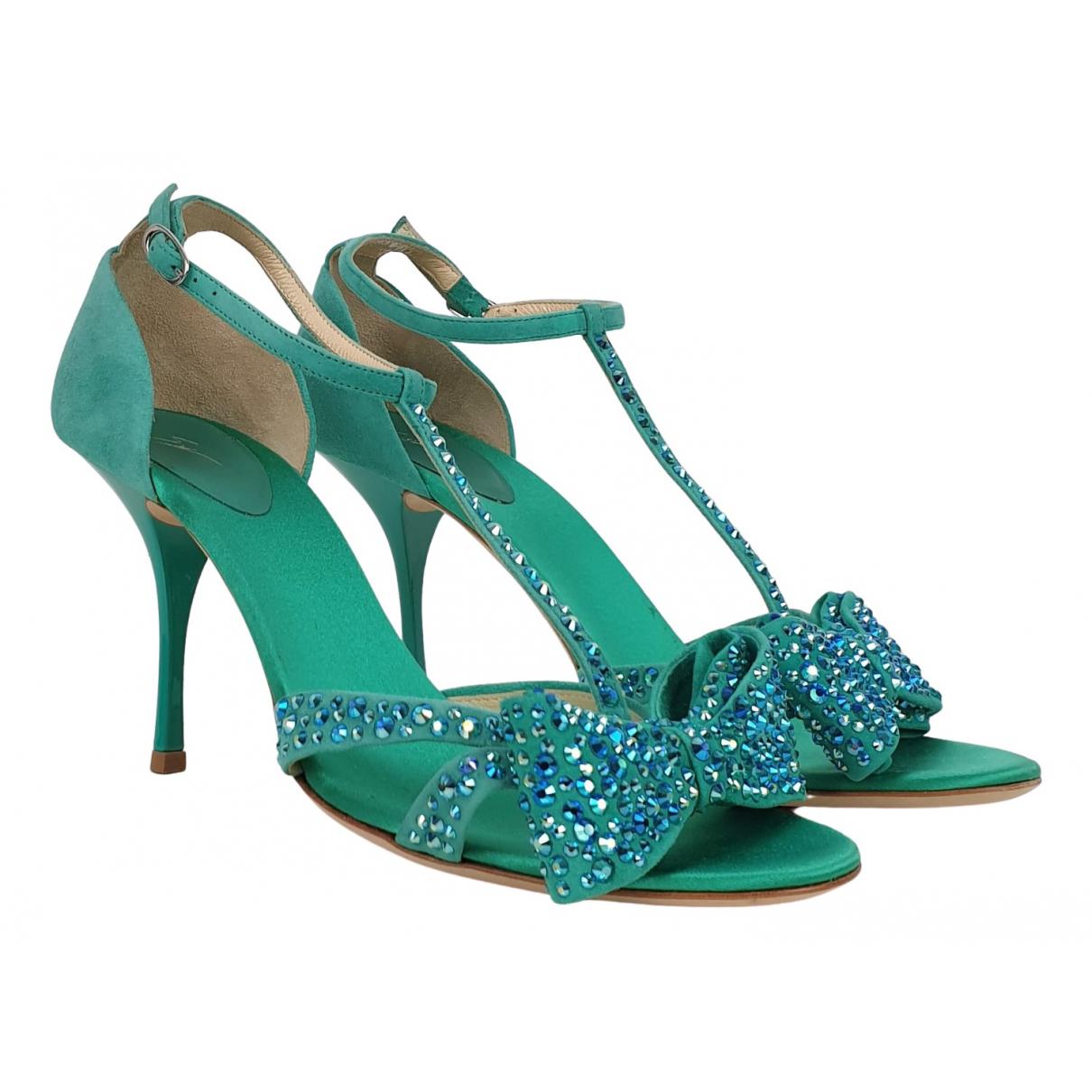 Giuseppe Zanotti - Sandales   pour femme en suede - turquoise
