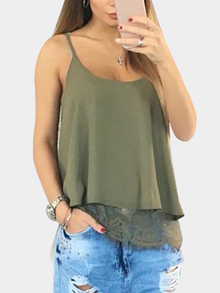 Yoins Army Green Chiffon Double Layer Lace Hem Camis