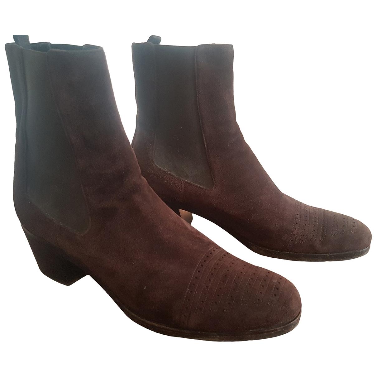 Prada - Boots   pour femme en suede - marron