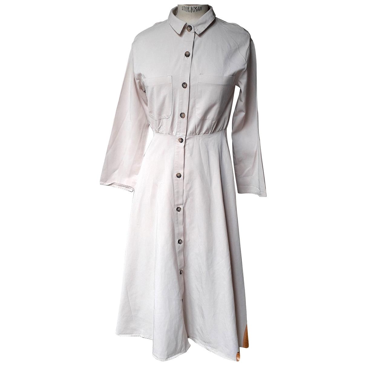 Zara - Robe   pour femme en coton - beige