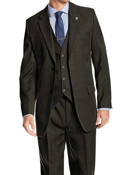Men's Notch Lapel 2 Button Single Breasted  Green  Vested  Suit