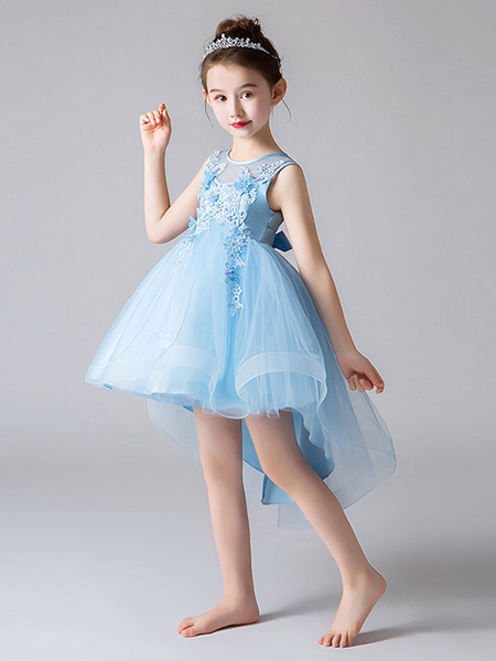 Milanoo Vestidos de niña de flores Cuello joya Tul Sin mangas Princesa Alto Bajo Hasta la rodilla Vestidos de fiesta social bordados para niños