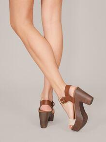 Raffia Band Wood Detail Platform Heeled Sandals