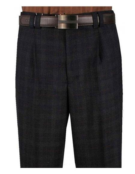Mens Plaid Charcoal Single Pleat Wide Leg Striped Pattern Pant