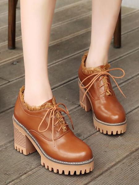 Milanoo Classic Lolita Footwear Lace Up Chunky High Heel PU Lolita Shoes