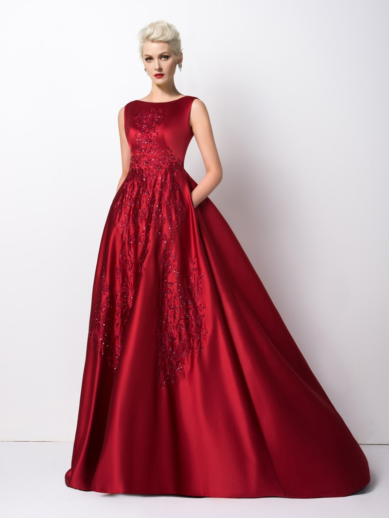 Ericdress Concise A-Line Sequins Floor-Length Evening Dress
