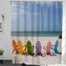 1pc Sea Beach Print Shower Curtain With 12Hooks