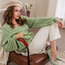Drop Shoulder Button Front Cable Knit Oversized Cardigan