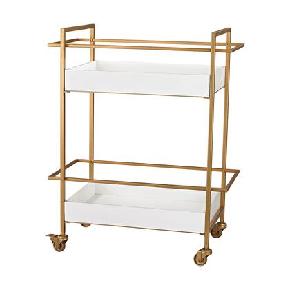 351-10182 Gold And White Bar Cart  In Gloss White