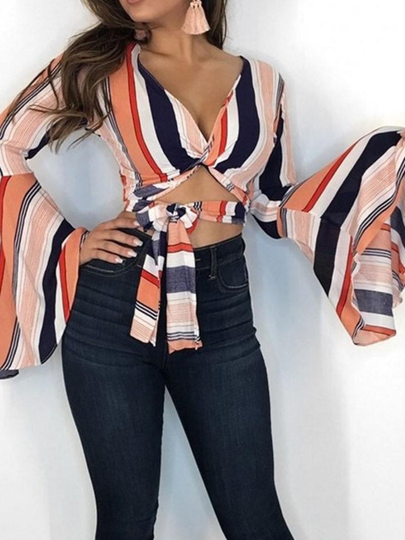 Ericdress Stripe Flare Sleeve Lace-Up Fashion Blouse