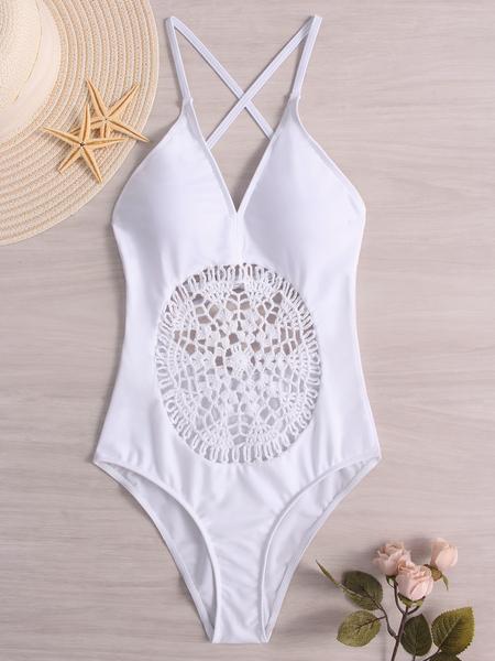 Yoins White Hollow Design Deep V Neck One Piece Swimwears