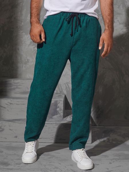 Yoins Men Vintage Corduroy Drawstring Elastic Waist Casual Pants