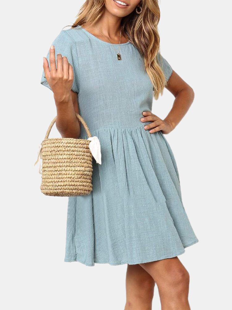 Short Sleeve Solid Color O-neck Casual Mini Dress For Women