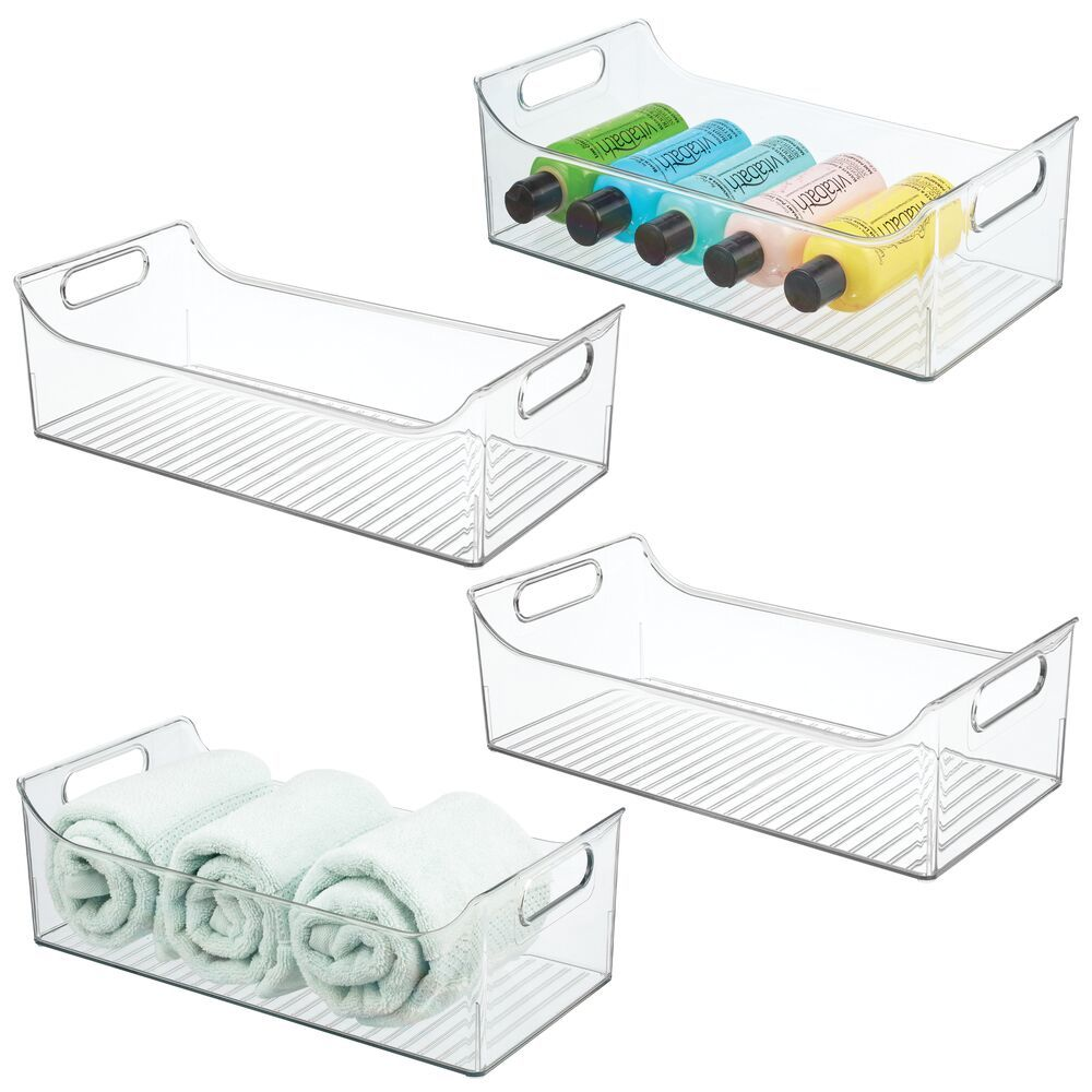 Plastic Bath Storage Bin with Handles - Pack of, by mDesign