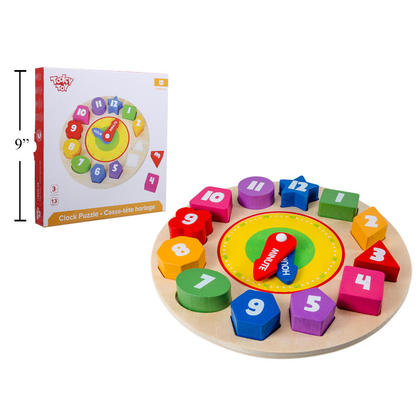 Tooky Toy Wooden Shape Sorting Clock Puzzle