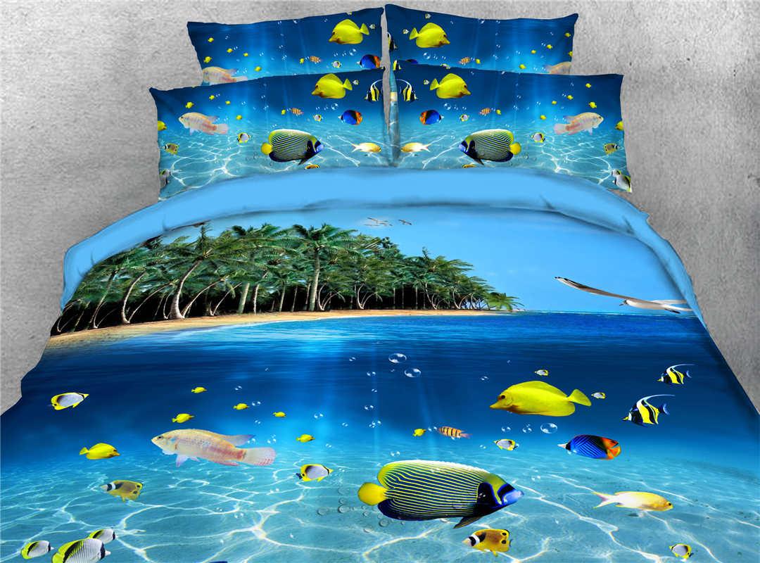 Colorful Tropical Fish Blue Sea Printed Tencel Cotton 4-Piece 3D Bedding Sets/Duvet Covers