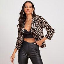 Shawl Collar Leopard Blazer