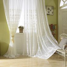 1pc Flower Embroidered Sheer Curtain