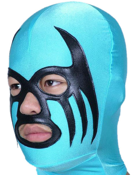 Milanoo Halloween Blue And Black Open Eye Nose And Mouth Spandex Hood Halloween