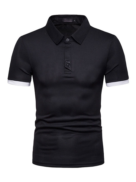 Milanoo Men Polo Shirt Navy Blue Button Decor Two Tone Short Sleeve T Shirt