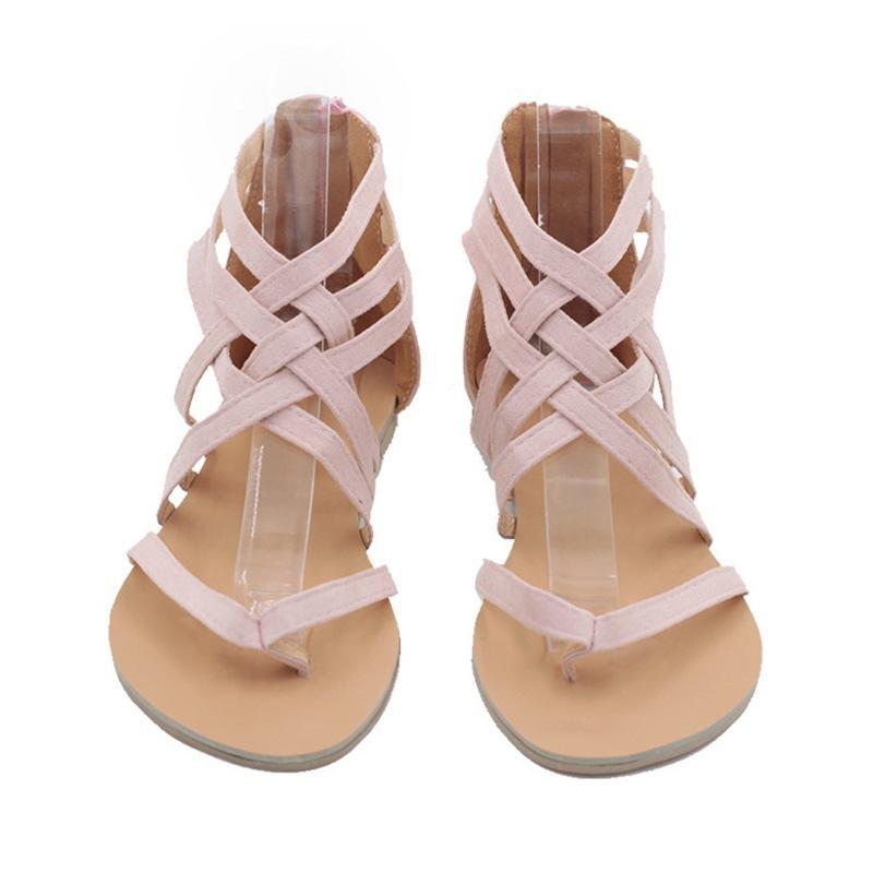 Ericdress Zipper Heel Covering Thong Roman Flat Sandals