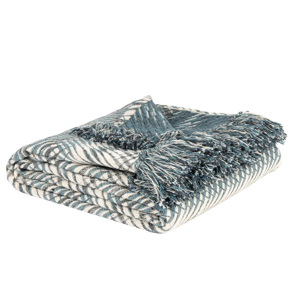 Baumwollplaid aus Webjacquard, blau und weiss 160x210