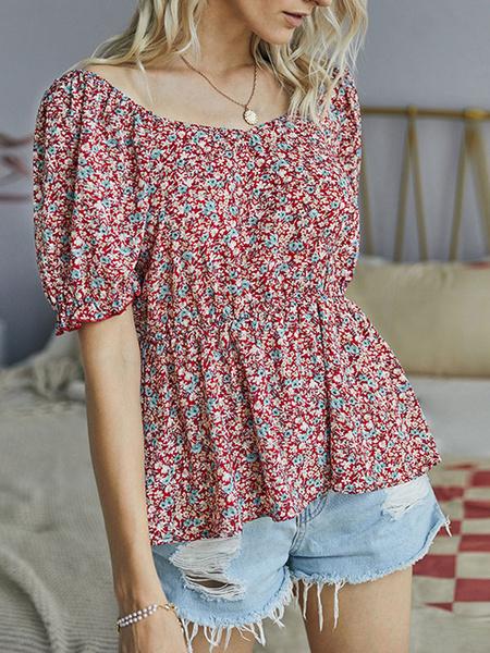 Milanoo Blusa de mujer Camisa de manga corta estampada con cuello joya de albaricoque