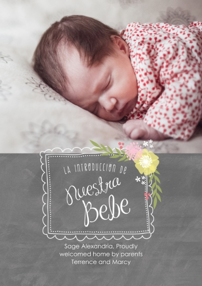 Newborn Flat Glossy Photo Paper Cards with Envelopes, 5x7, Card & Stationery -Spanish - Handwritten Floral