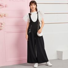 Strappy Back Wide Leg Cartoon Graphic Pinafore Jumpsuit