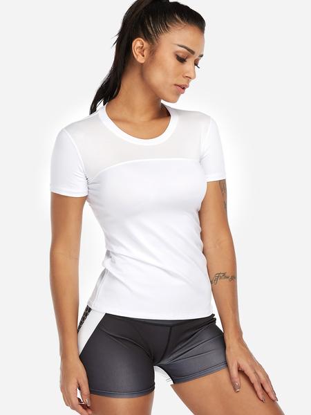 Yoins White Plain Crew Neck Short Sleeves Gym Tops