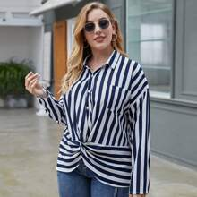 Plus Striped Print Button Front Twist Hem Blouse