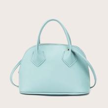 Curved Top Double Handle Satchel Bag
