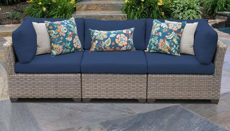 Monterey Collection MONTEREY-03b-NAVY 3-PC Patio Sofa with 2 Corner Chairs and 1 Armless Chair - Beige and Navy
