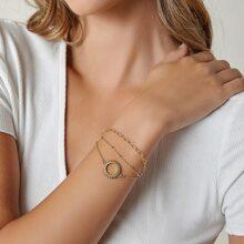 Sun Charm Layered Rolo Chain Bracelet