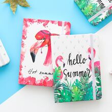 1 Pack zufaelliges Notizbuch mit Flamingo Muster
