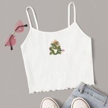 Dragon Embroidered Graphic Cami Top