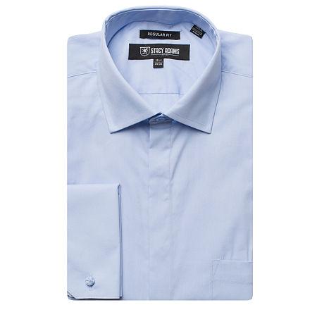 Stacy Adams Mens Point Collar Long Sleeve Dress Shirt, 16 34-35, Blue
