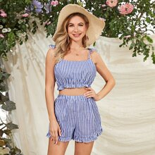 Tie Shoulder Striped Cami Top With Shorts