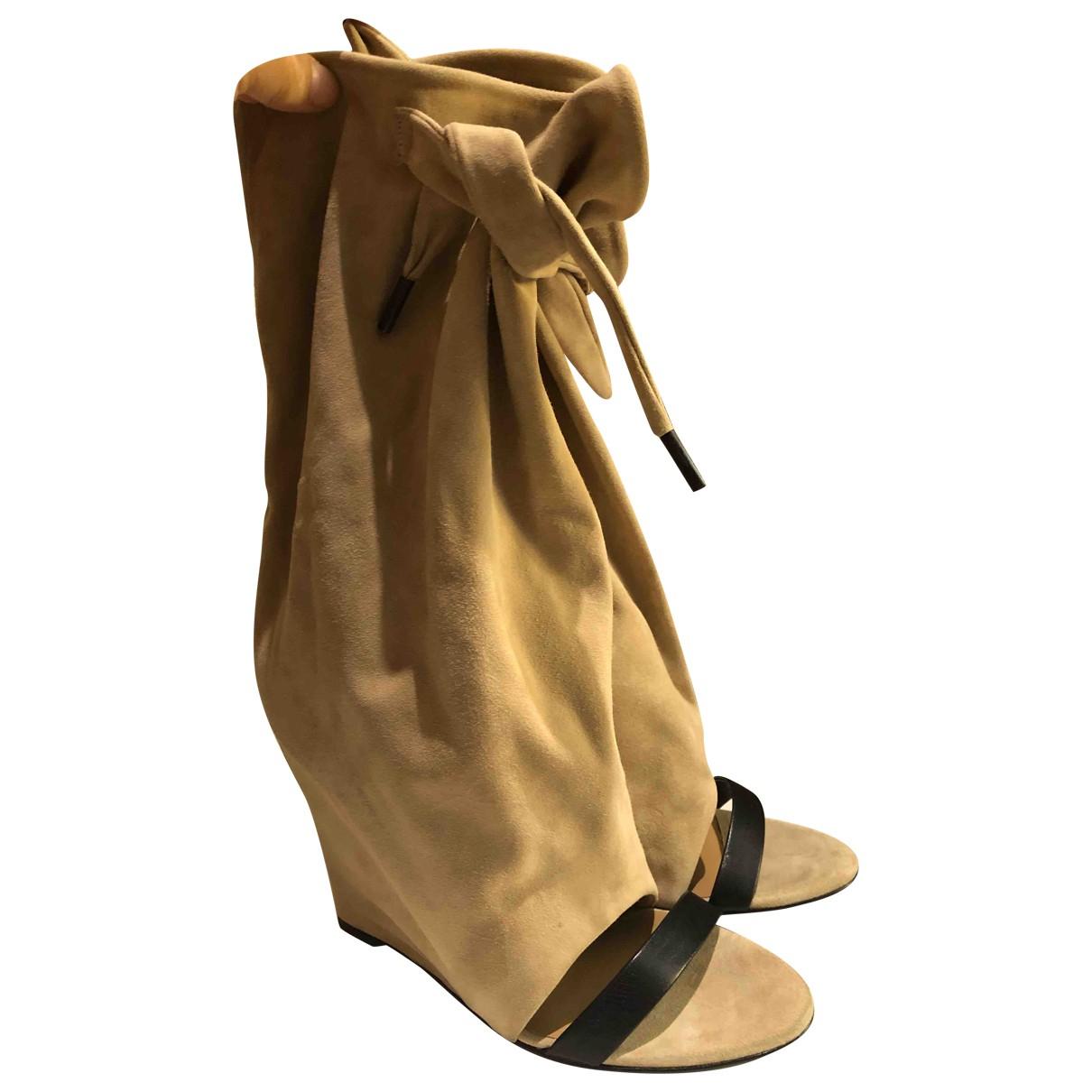 Balenciaga \N Stiefel in  Beige Veloursleder