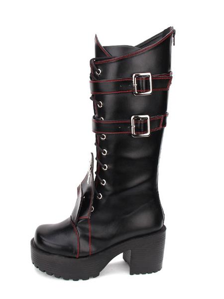 Milanoo Gothic Lolita Boots Grommet Cross Lace Up Buckle Platform Chunky High Heel Black Lolita Shoes