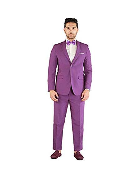 Mens Purple Two Button Suit