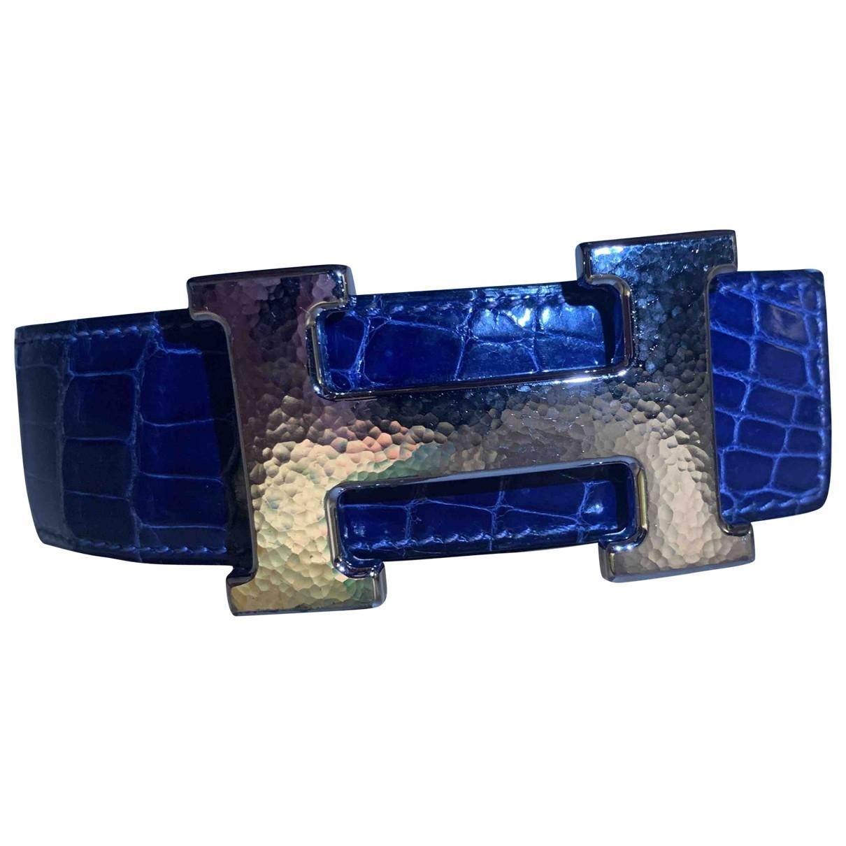 Hermès Belt Blue Alligator belt for Men 100 cm