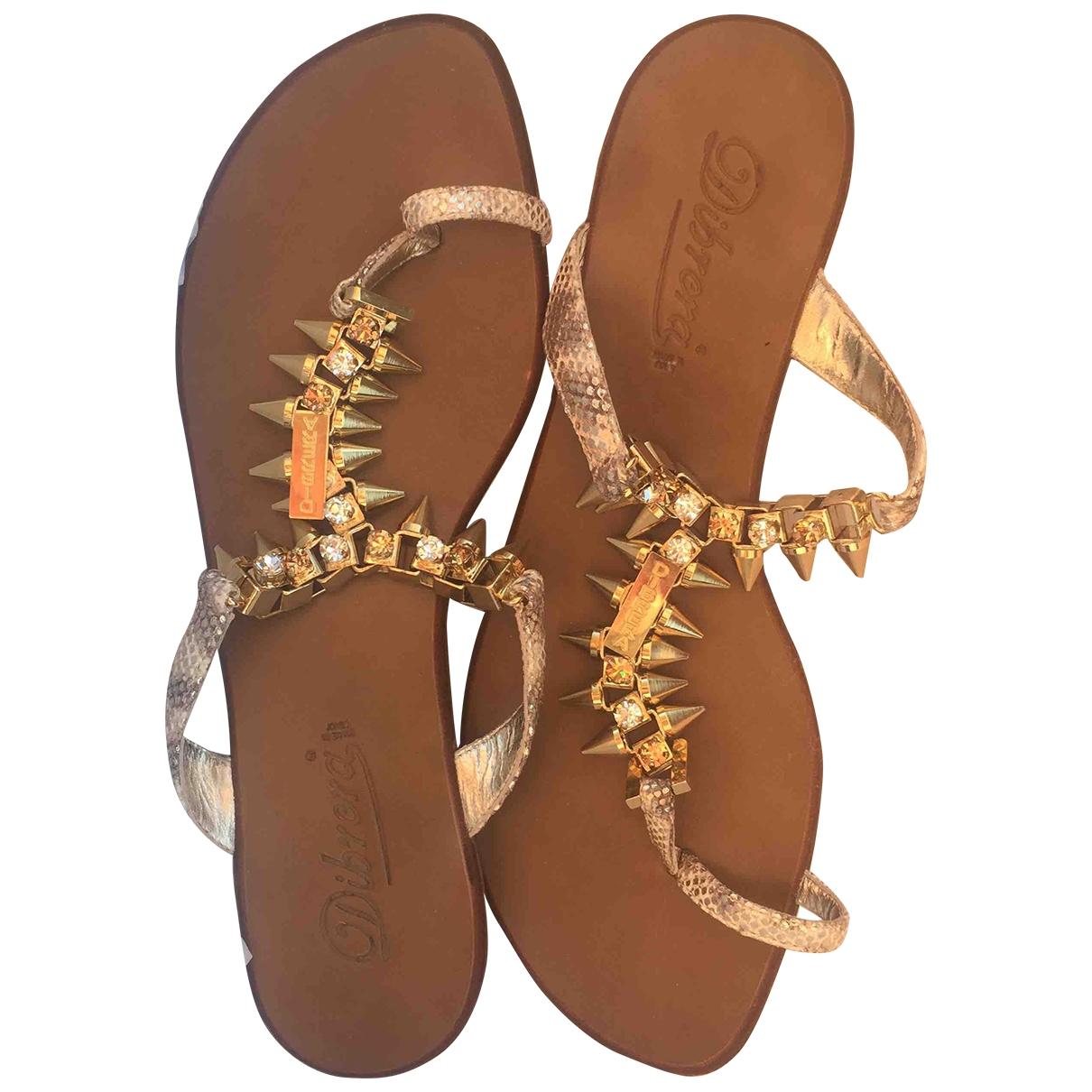 - Sandales   pour femme en toile - dore