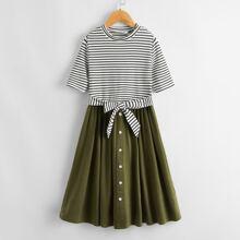 Girls Striped Bodice Tie Front Button Detail Dress