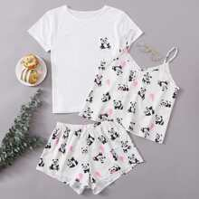 3pcs Cartoon Panda Print PJ Set
